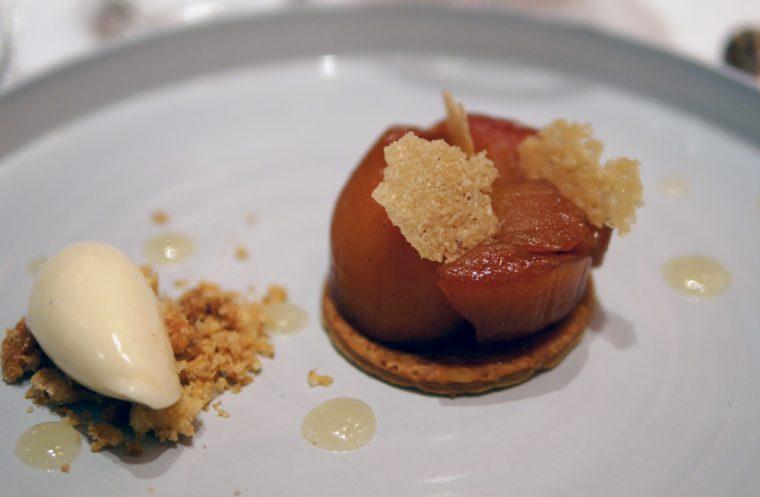 Pear Tart Tatin with walnut and parmigiano crumble