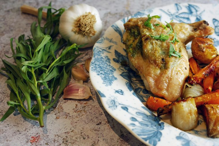 Tarragon and Garlic Roast chicken Supreme close up