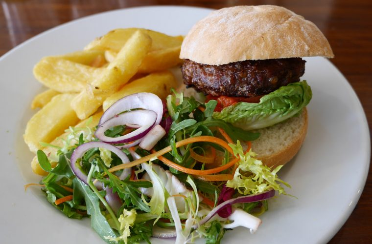 Venison Burger and Chips at Cowdray
