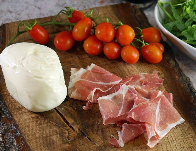 Burrata Ham and Datterini Tomatoes
