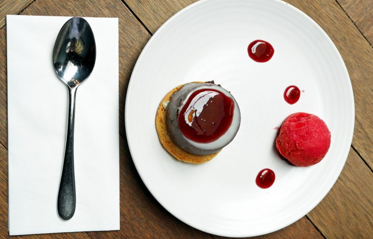 Chocolate Tart, Raspberry Sorbet