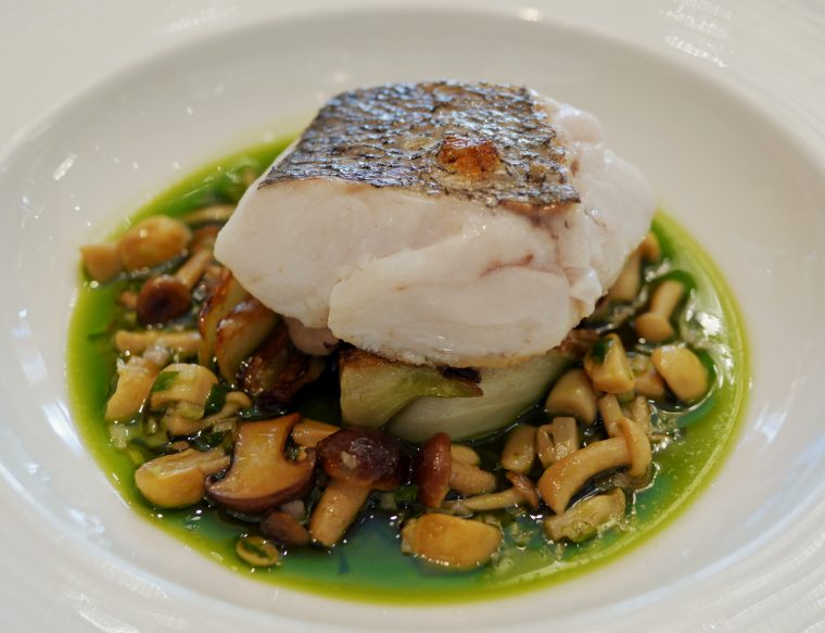 Hake with Roast Chicken and mushroom dressing and fennel