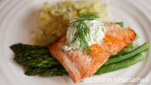 Sockeye Salmon with Cream Dill Sauce