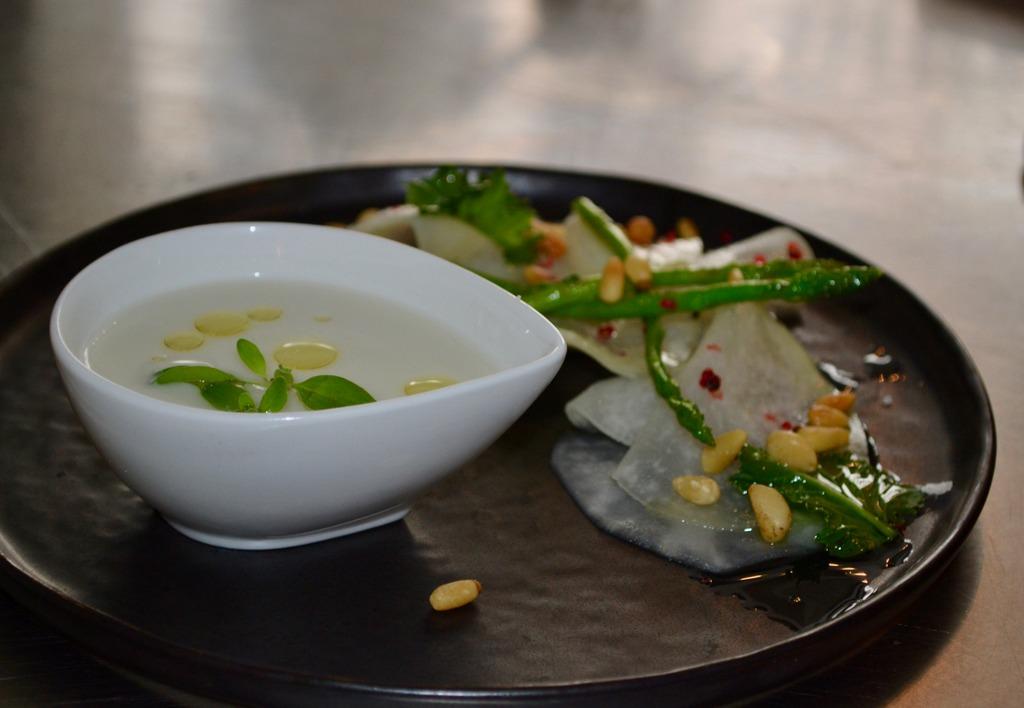Kohlrabi, asparagus, watercress, and pine nuts at Food Storms