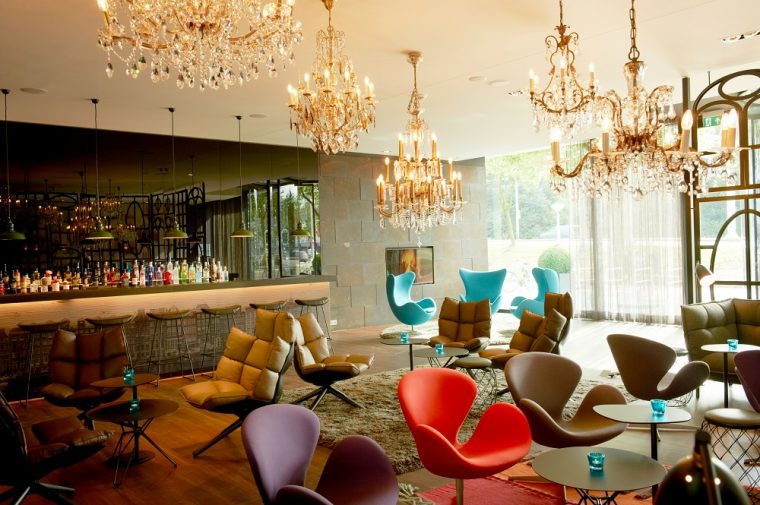 Hotel lounge with colourful chairs