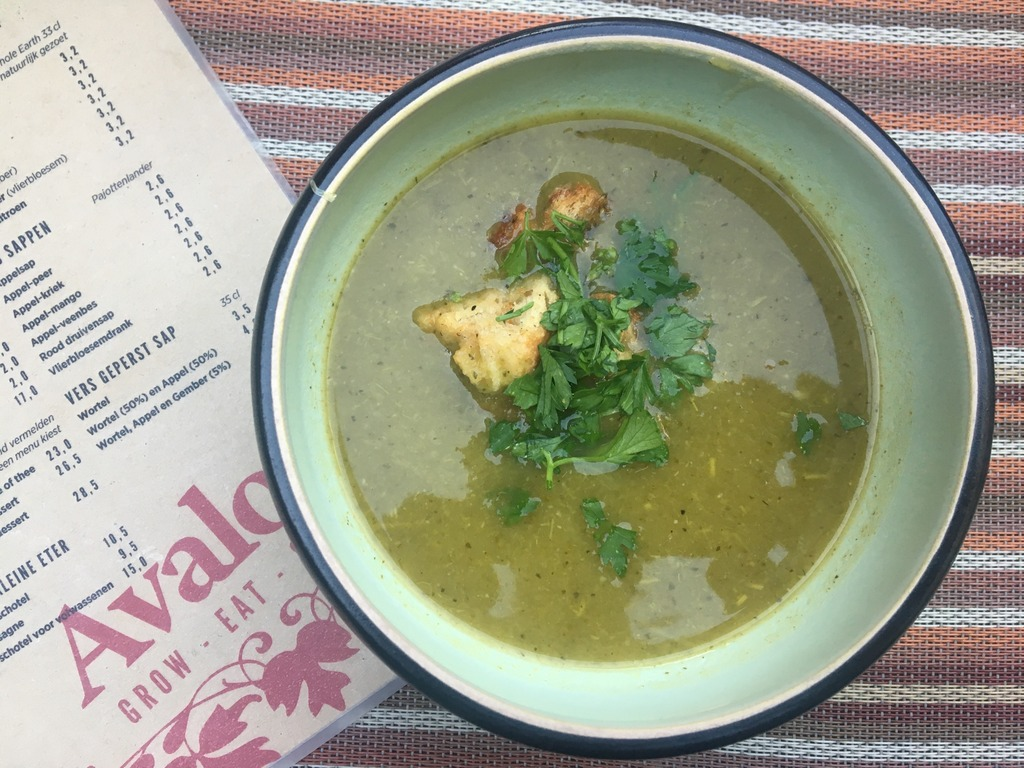 Vegan food, Ghent, Avalon Garden, Courgette Soup