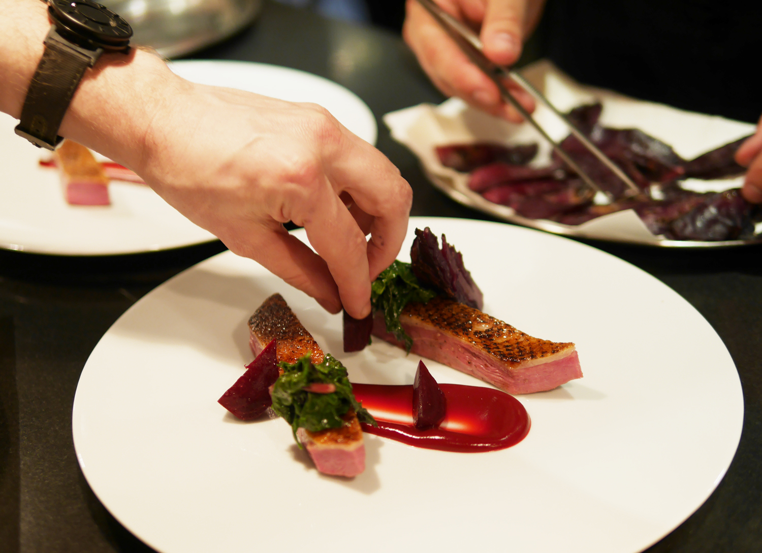 Plating Powdered Duck - Dinner by Heston, Mandarin Oriental London