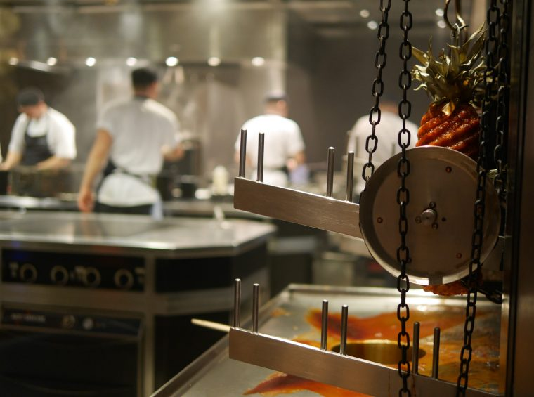 spit roast pineapple and kitchen - Dinner by Heston, Mandarin Oriental London