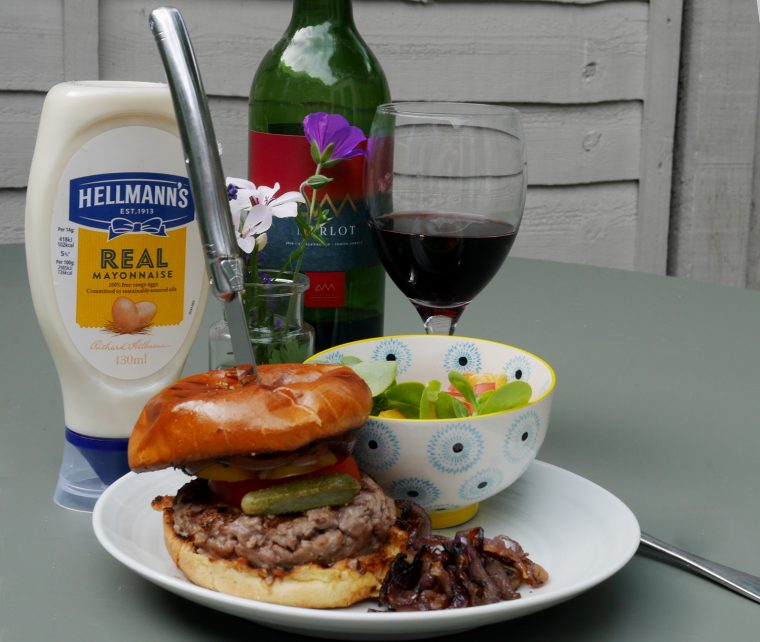 Beef Burger Home Made with Mayo