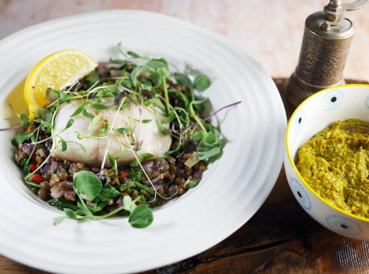 Black Cod with Chermoula and Spiced Lentils
