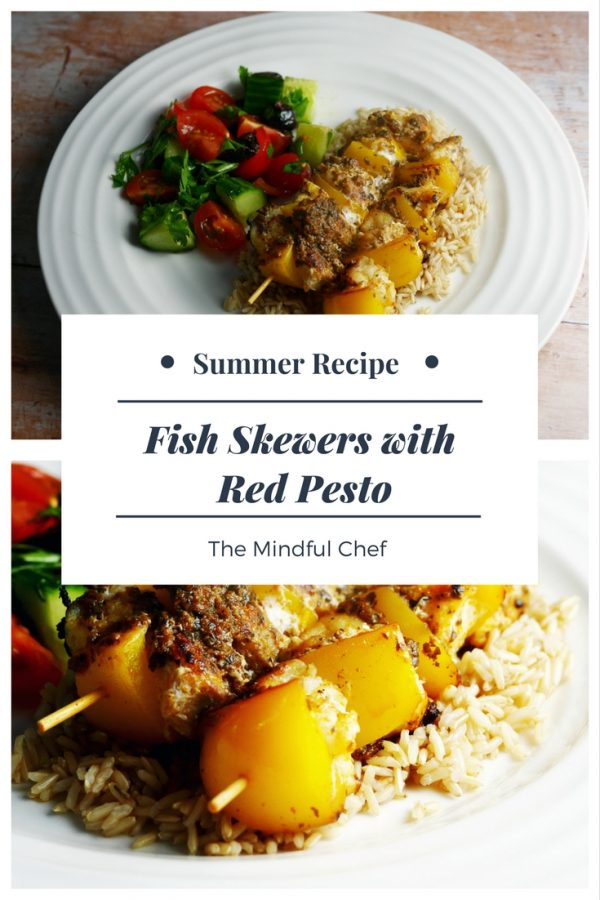 Fish Skewers with Red Pesto - Easy Summer Recipe - Fish Skewers with Pesto (1)