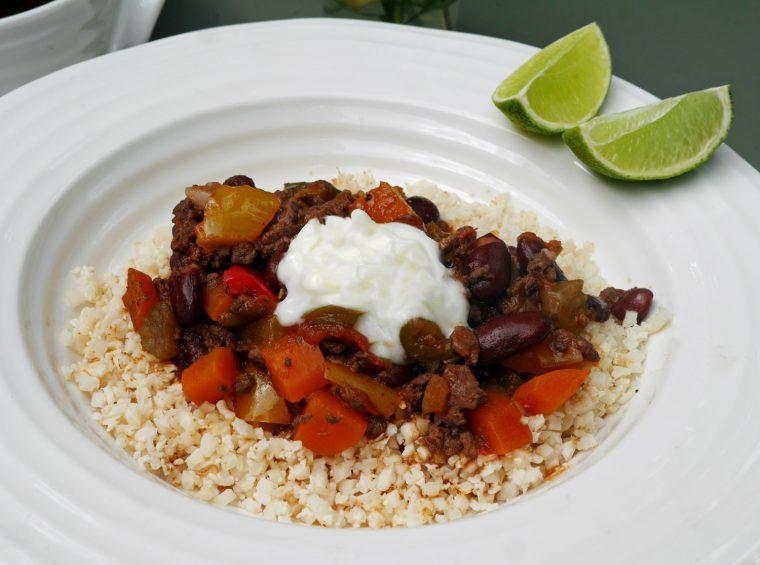 Low Calorie Chilli Con Carne with Cauli Rice