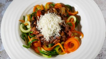 Low Calorie Bolognese with Vegetable Spaghetti