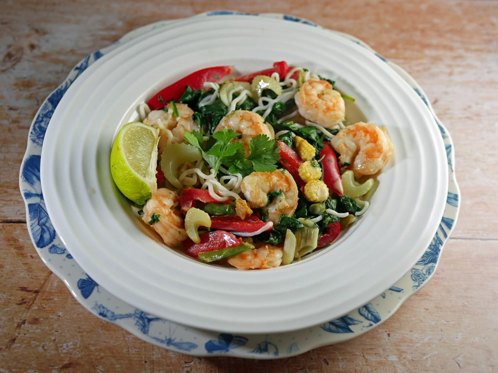 Low Calorie Prawn Noodle Coconut Chilli Bowl