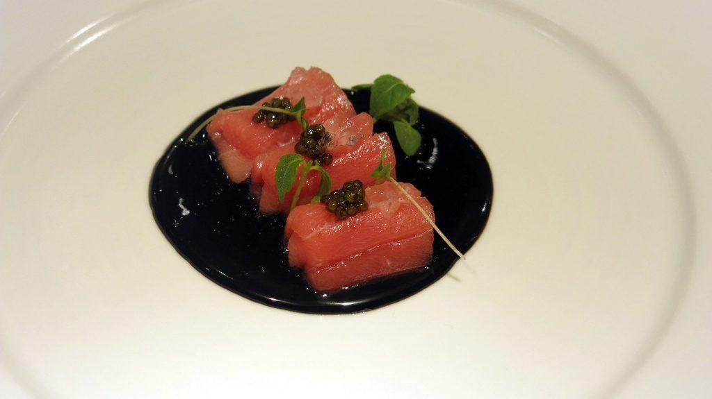 Nobu Doha Chu-Toro Sashimi with Negi Goma Jalapeno Jelly Caviar