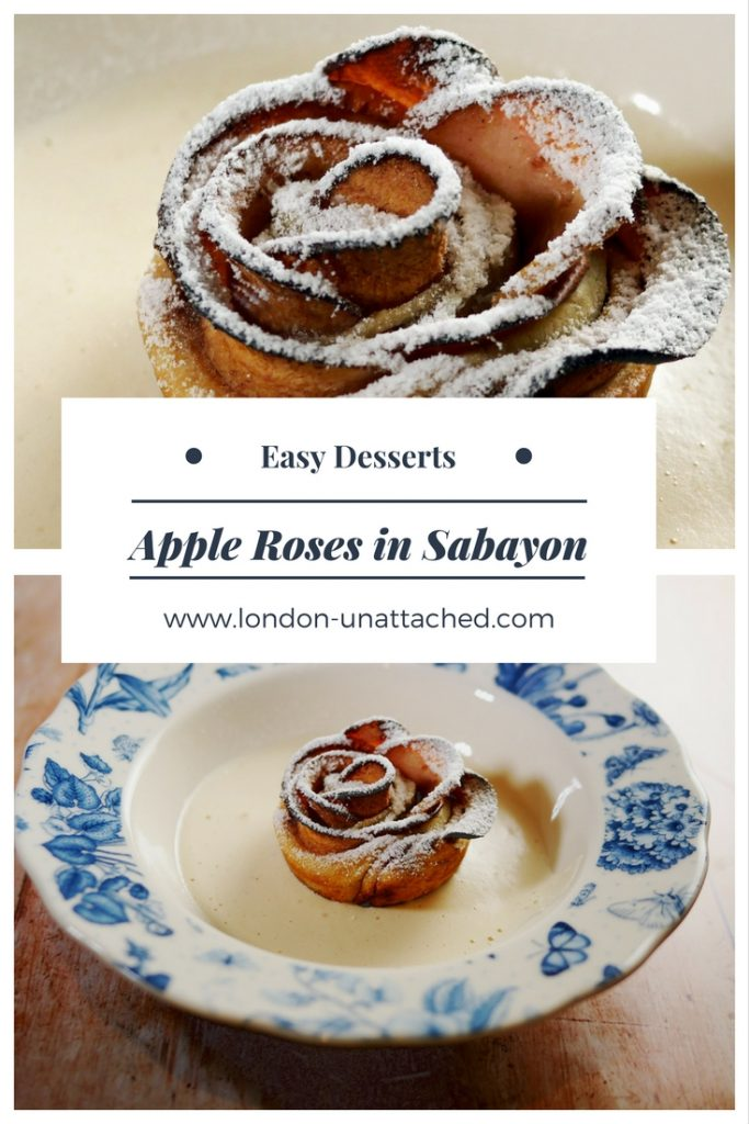 Apple Roses - Sabayon Sauce - Zabaglione - Apple and Zabaglione - Easy Dessert Apple Roses