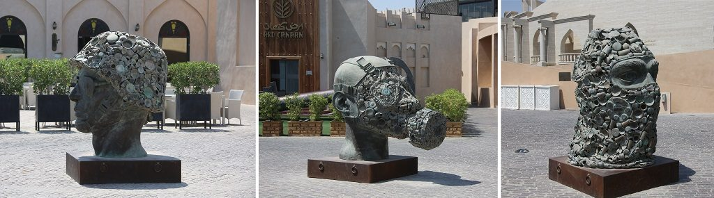 Doha Qatar Subodh Gupta Sculpture See Hear Speak No Evil