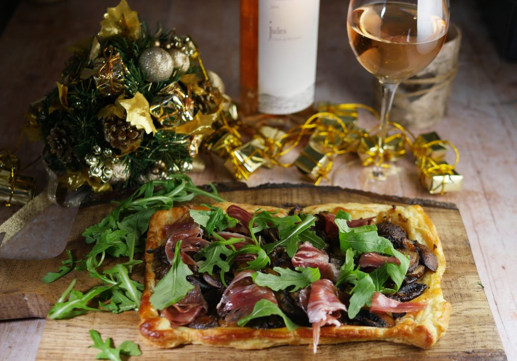 Ham and Mushroom Tart with Rose Wine