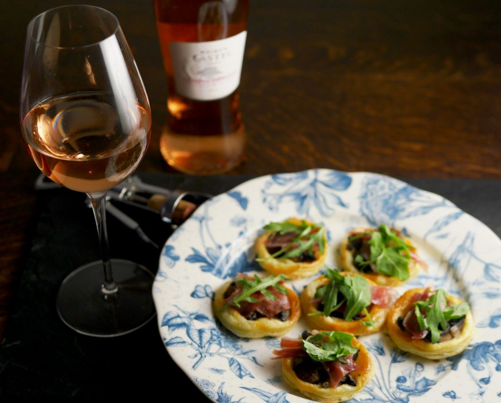 Iberico Ham and Mushroom Canapes with Rose wine from Provence