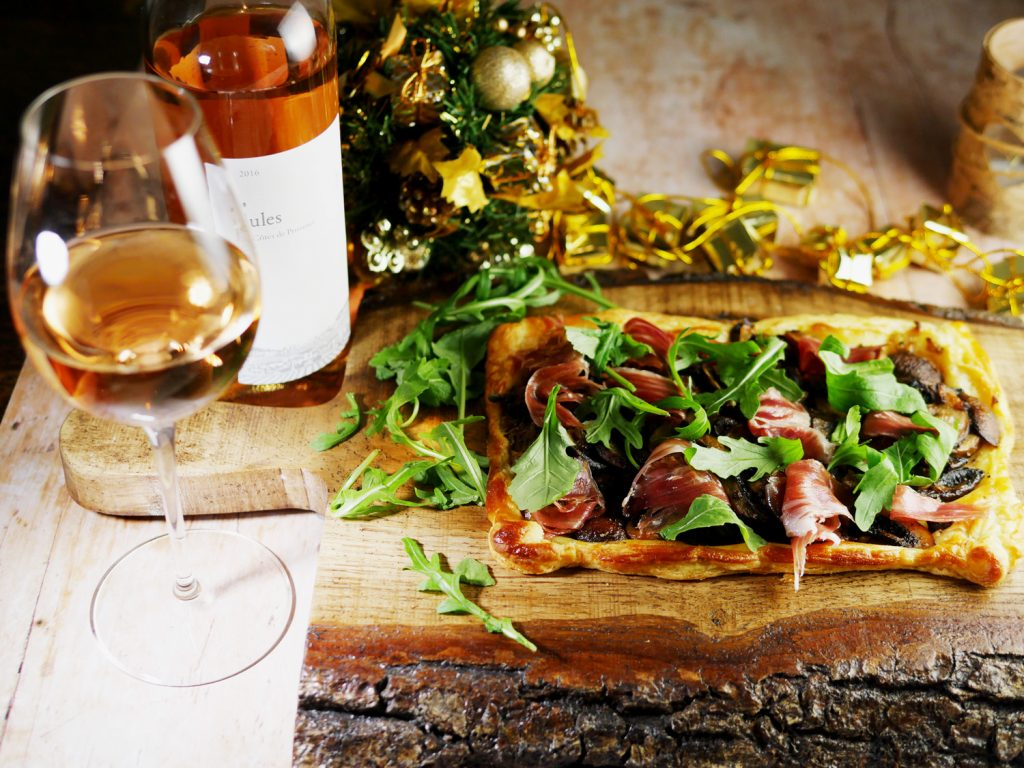 Wine from Provence with Mushroom and Iberico Ham Tart