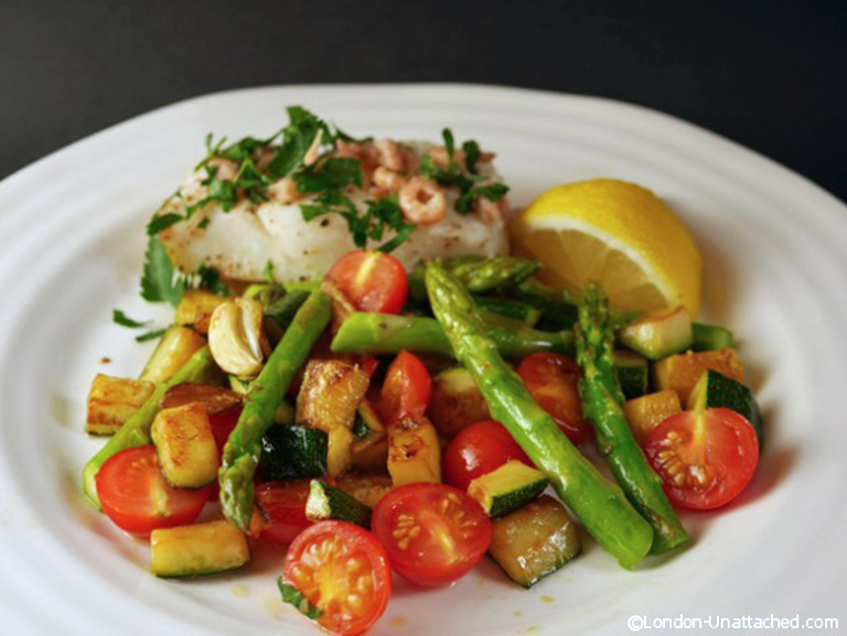 Cod-with-brown-shrimp-and-summer-veg-medley-5-2-diet-recipe