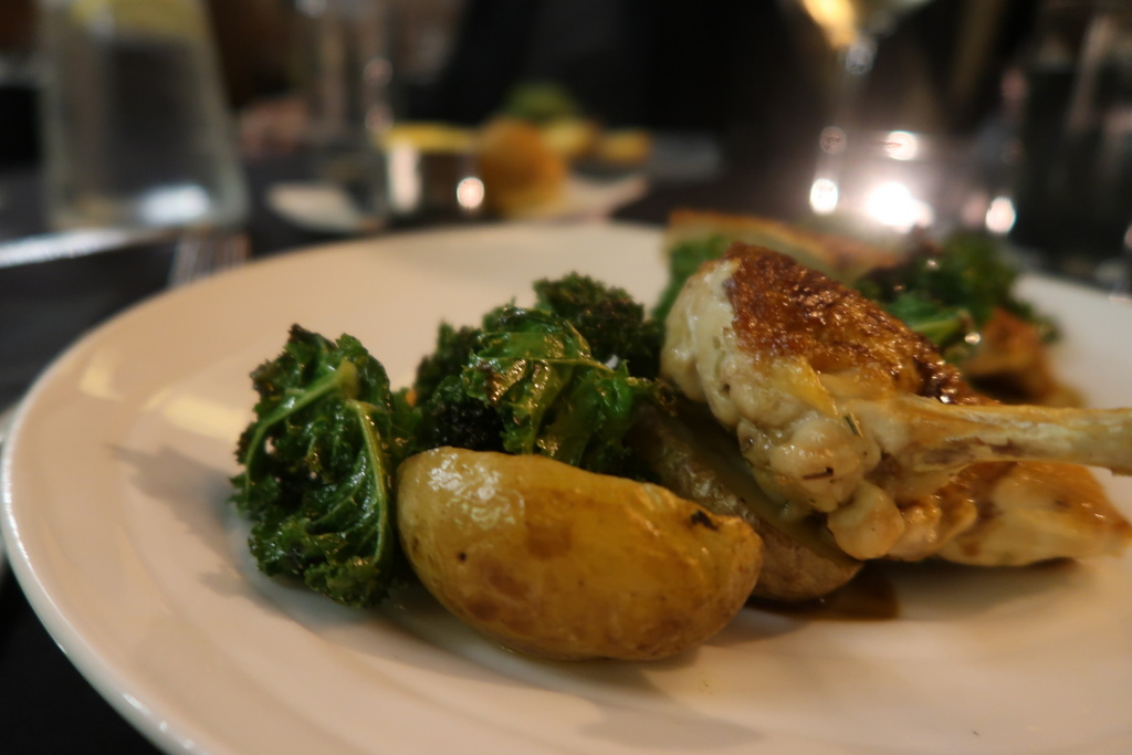 Corn fed chicken with crisp roasted kale