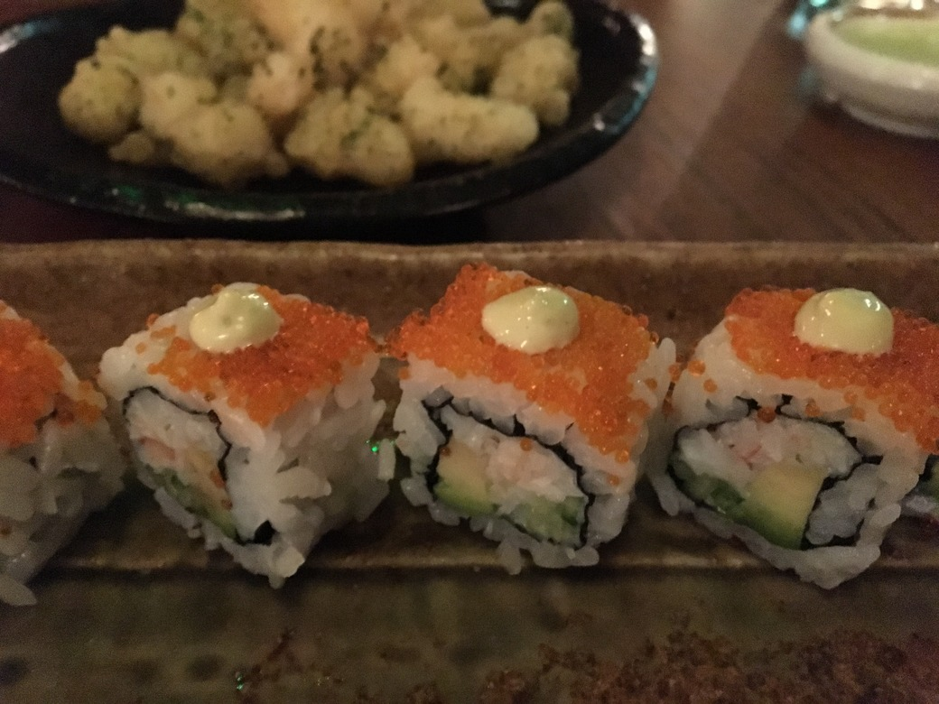 Pufferfish maki and california rolls