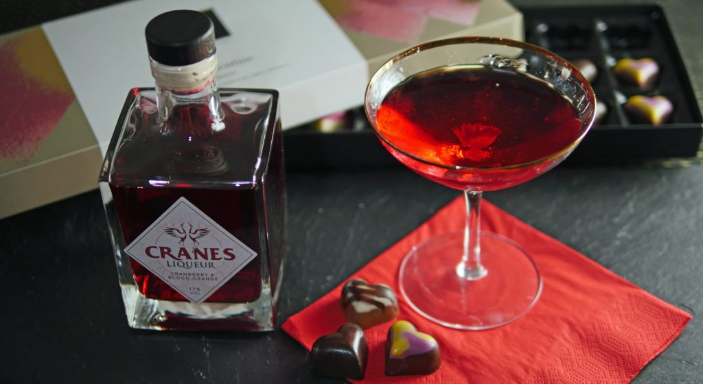 Valentine Love Potion Cocktail with vodka and liqueur