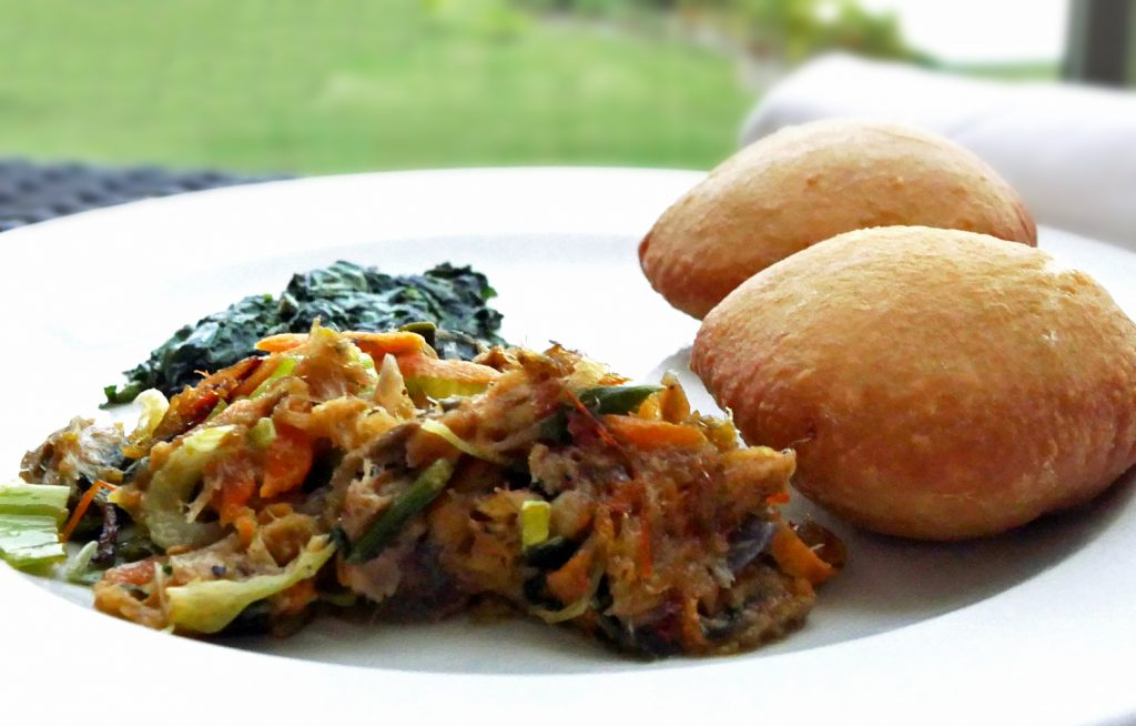 Bakes and Salt Codfish with Callaloo - St Lucia