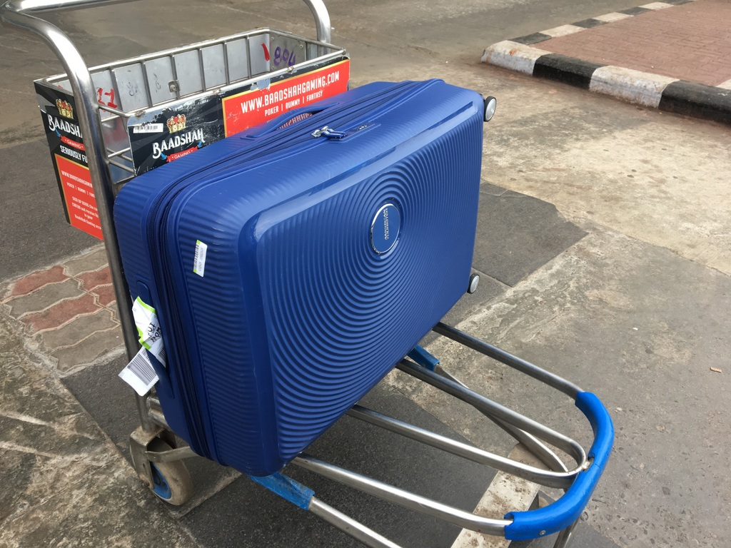 American Tourister Soundbox case on the road