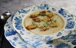 Celeriac Soup with Blue Cheese Croutons