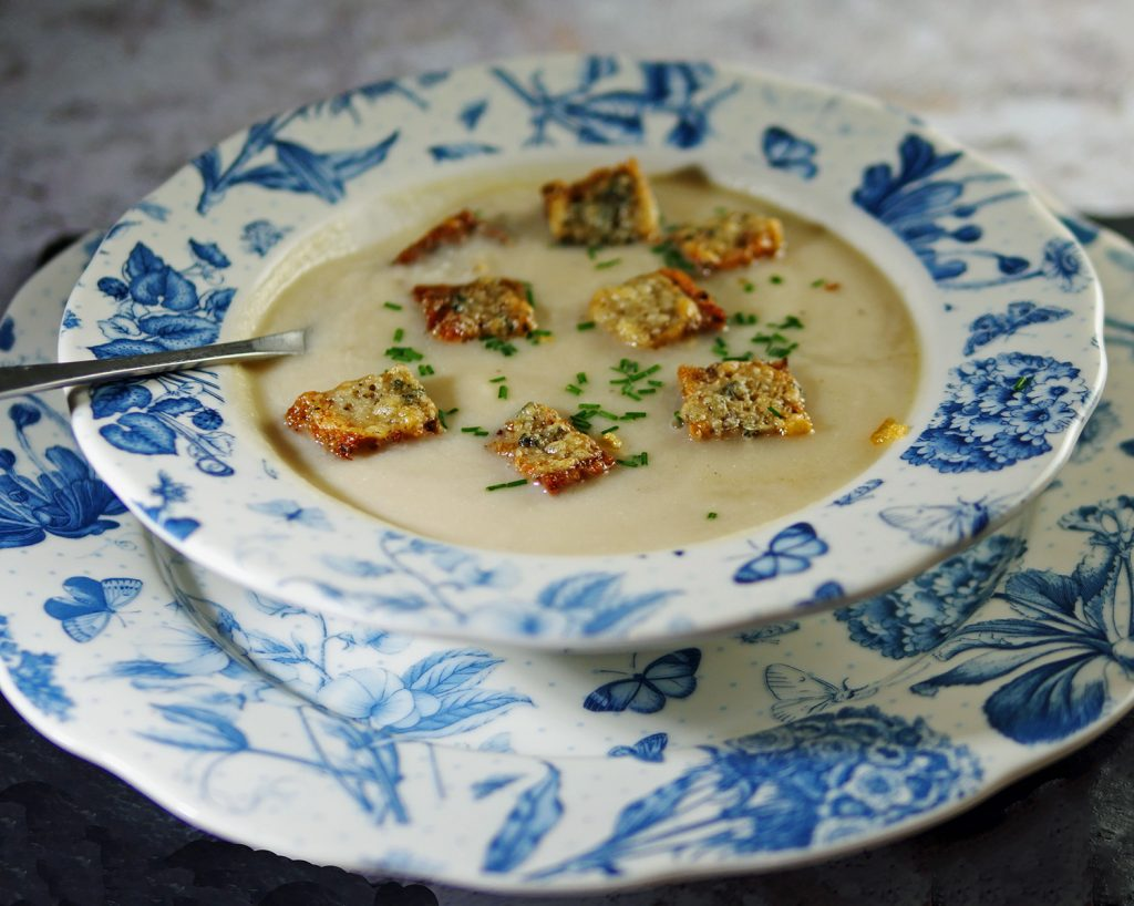 Celeriac Soup with Croutons