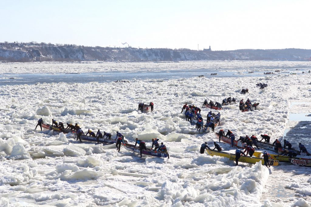 Ice canoeing Quebec