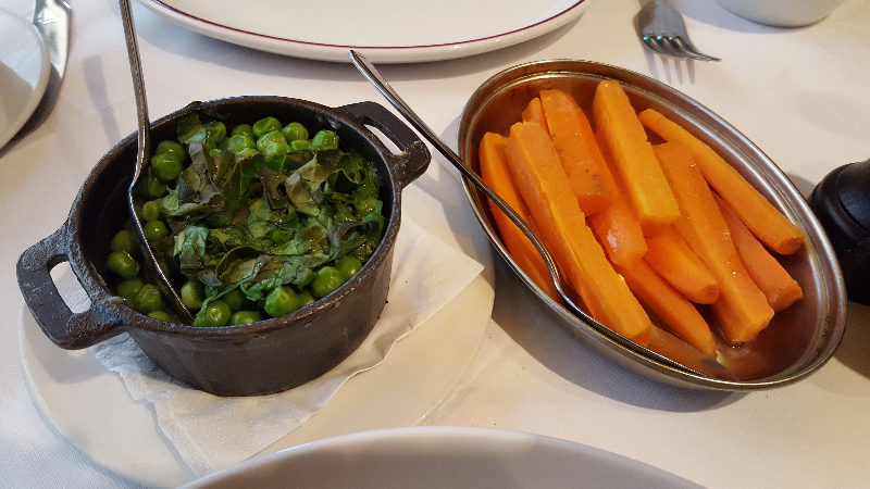 Vegetable sides, Palm Court Brasserie