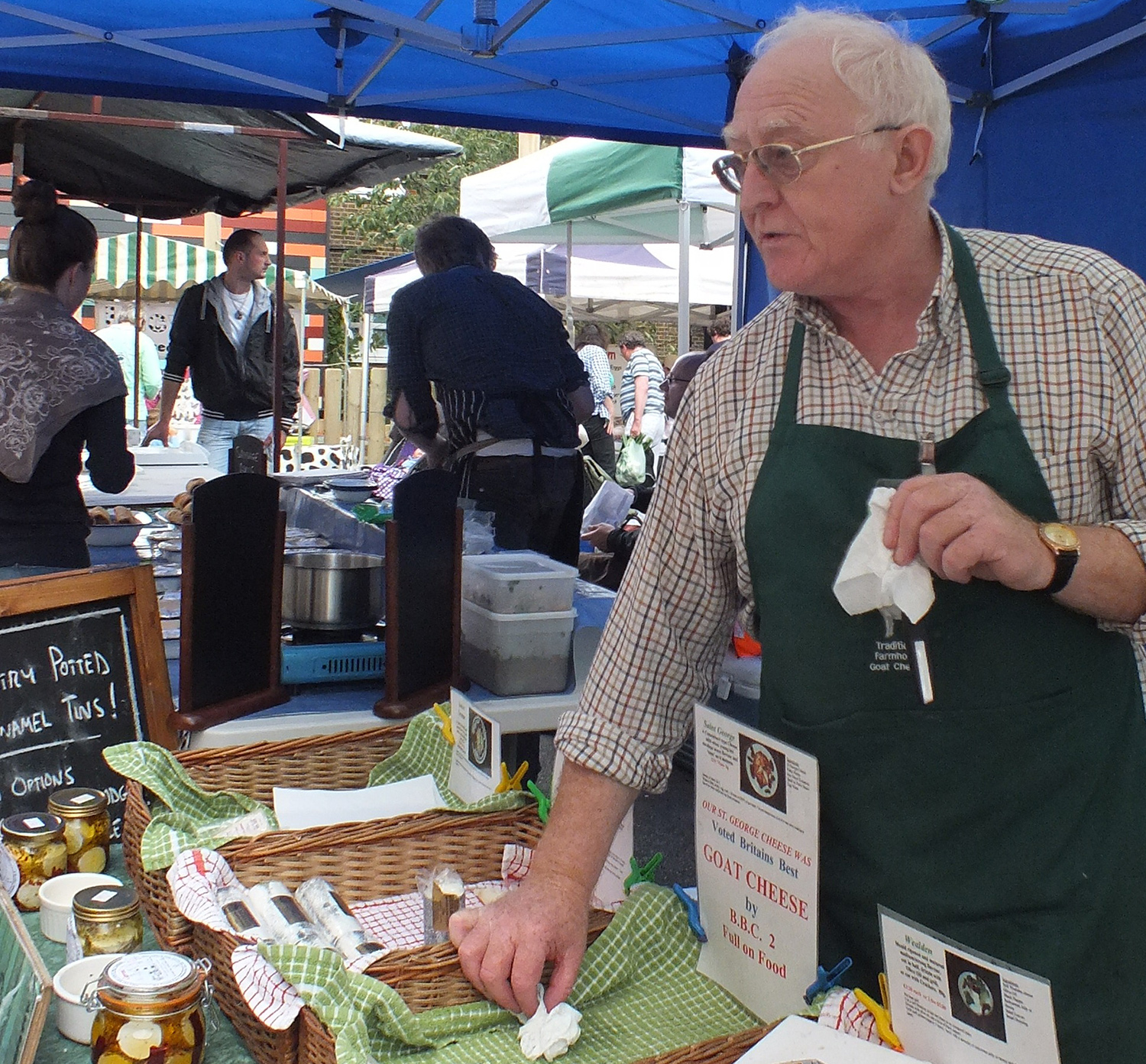 goats cheese at the farmer's market