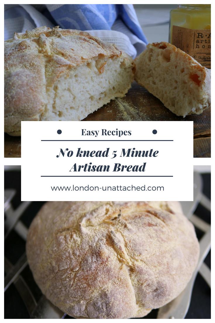 Easy Artisan Bread - 5 minute artisan bread - no knead artisan bread