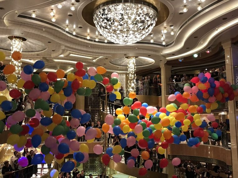 Balloon drop in the Atrium of the Royal Princess cruise ship