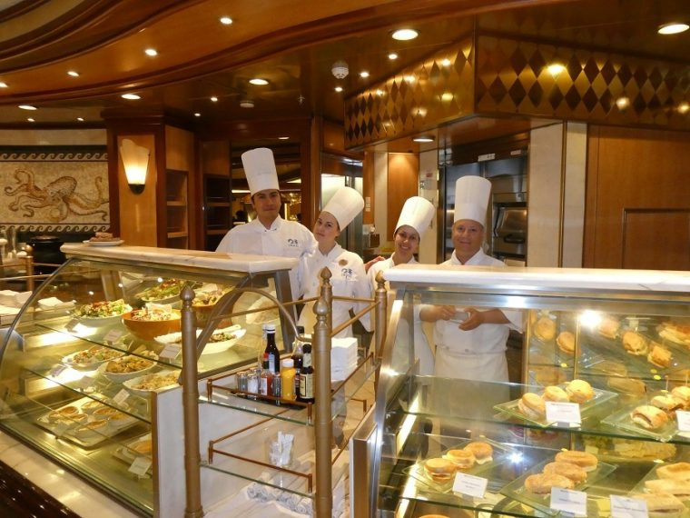 Chefs at the International Cafe Royal Princess cruise ship