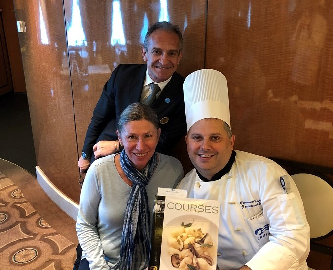 Meeting the Executive Chef and maitre d'hotel on The Royal Princess cruise ship