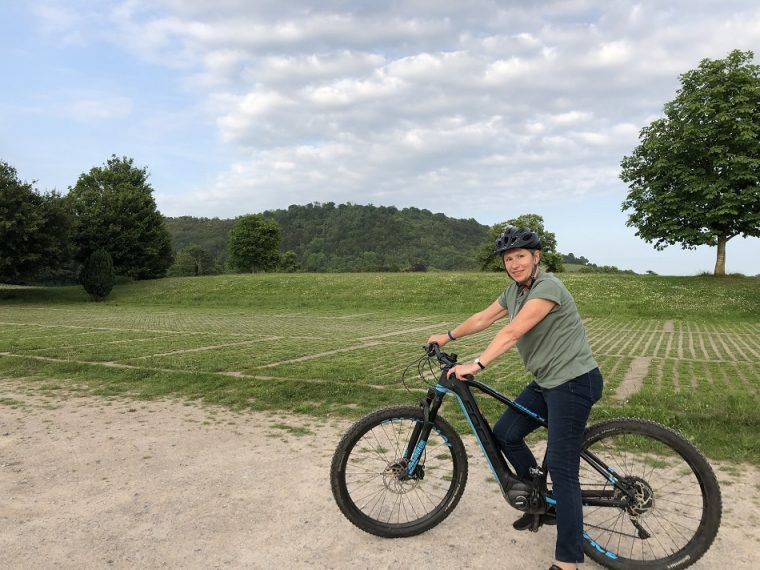 E-biking with Inghams at Denbies Surrey - Kay on her e-bike