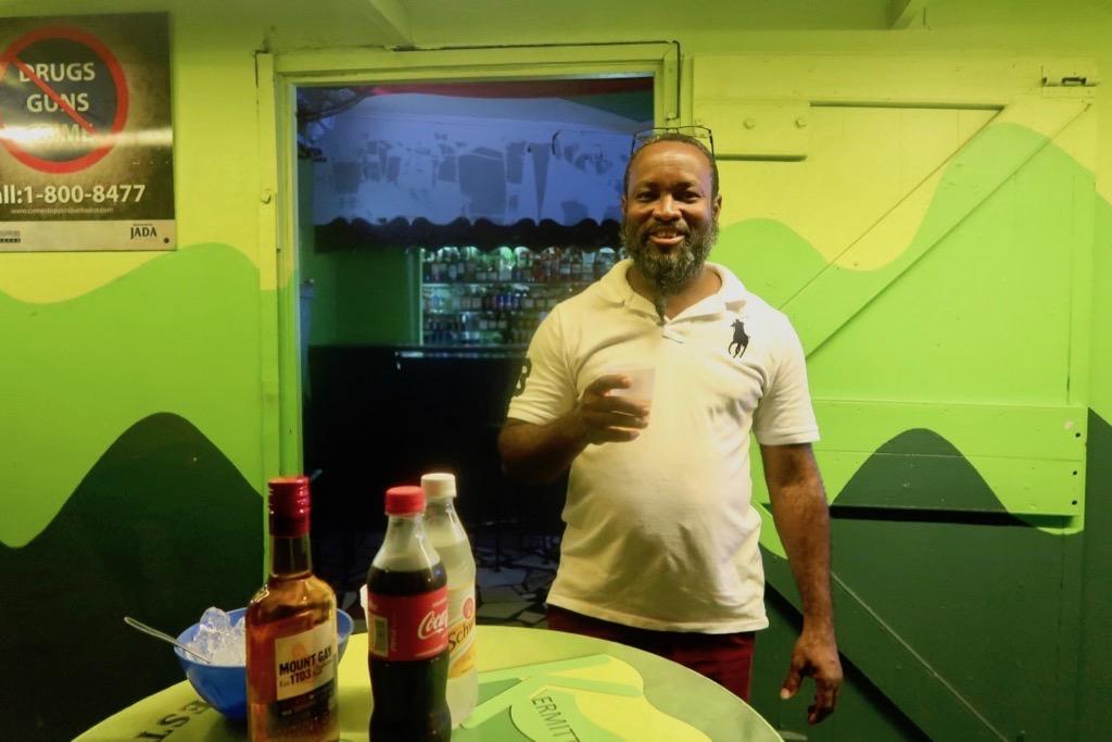 Kermit at Kermit's Rum Shop Barbados