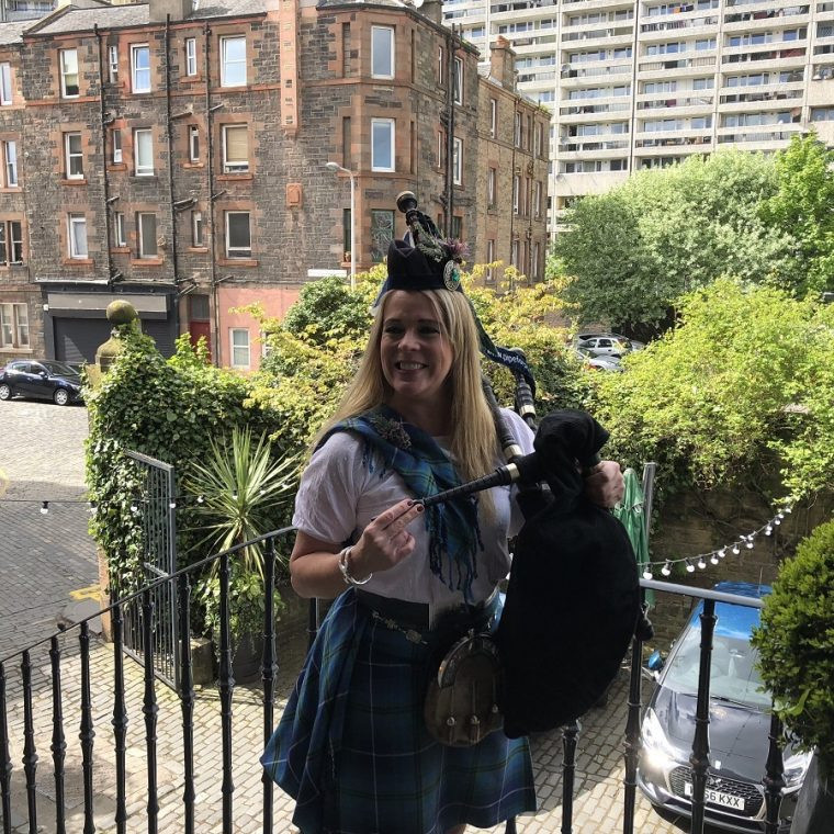 Louise Marshall National Piper at The Malt Whisky Society Edinburgh