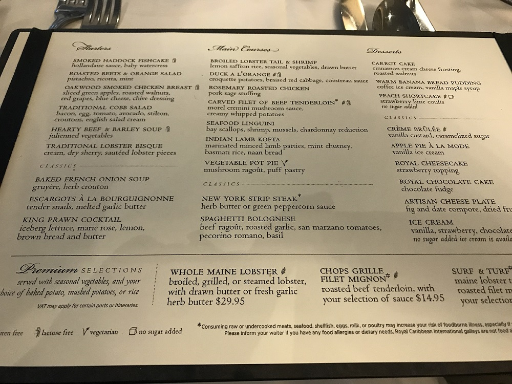 Royal Caribbean Formal menu