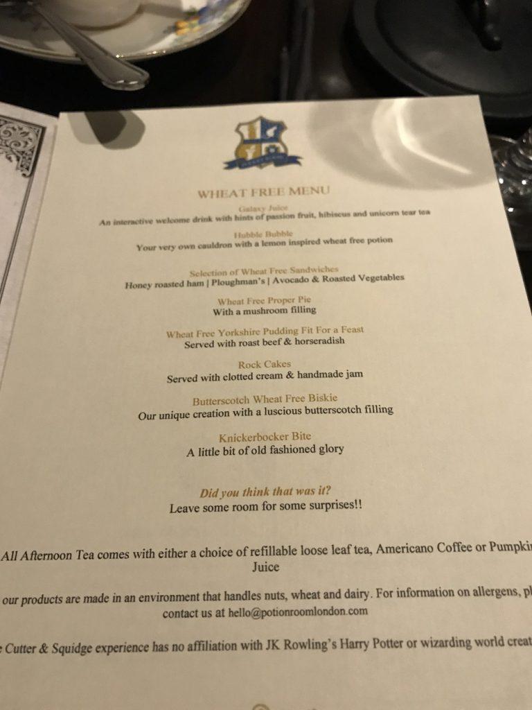 The Potion Room-Gluten free menu