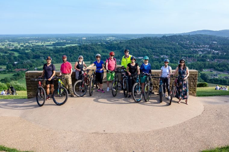 E-biking with Inghams - at the top of Box Hill Surrey