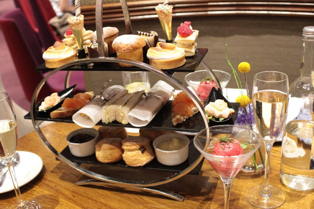 Art deco three tiered cake tray - Strand Palace Hotel Afternoon Tea