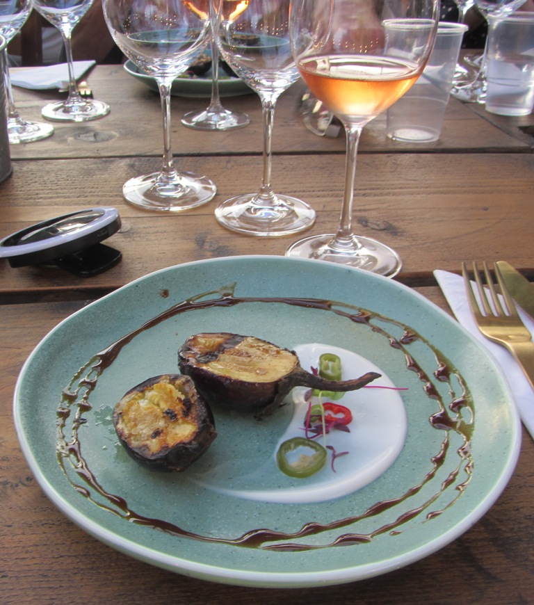 Loire Valley Wines - grilled aubergine with a vintage rose
