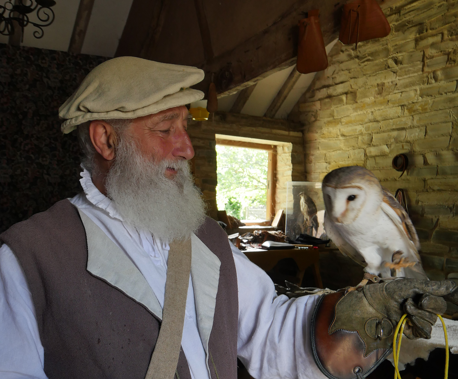 Man and Owl - Mary Ardens Farm