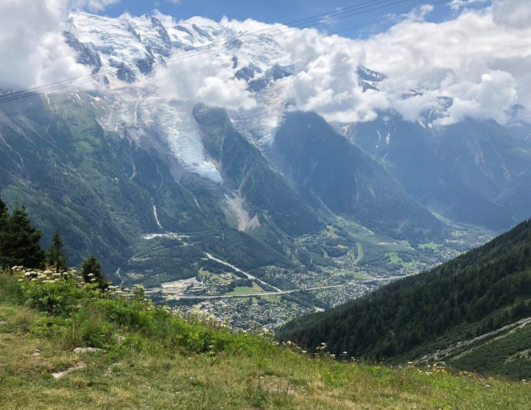 View from take off point for paragliding Chamonix France