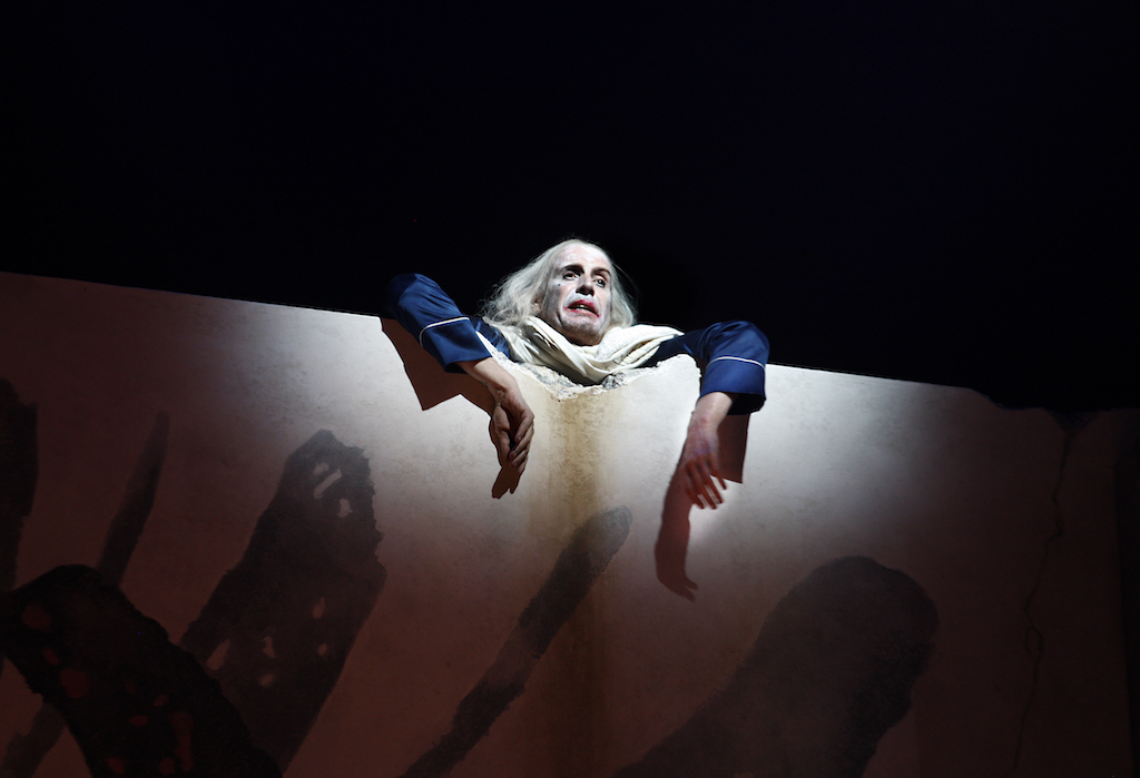 Rhys Ifans as the King in Exit the King, image by Simon Annand
